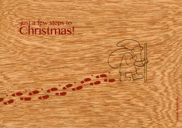 "Zedernholz Pop Up Postkarte - ""Christmas (just a few steps to..)"""