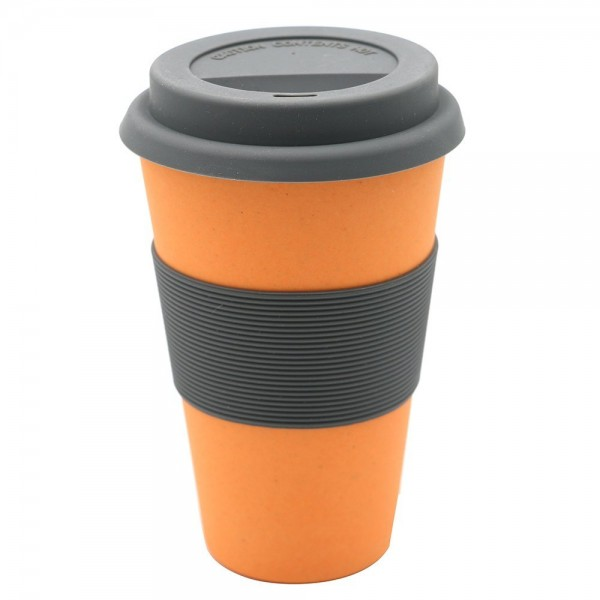 "Kaffeebecher Bambus ""To Go"", orange, 13 cm"