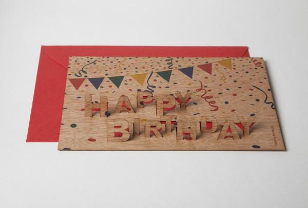 """Zedernholz Pop Up Postkarte - """"Happy Birthday"""""""
