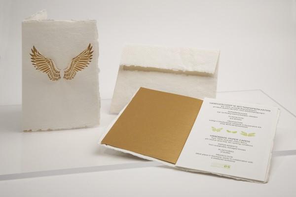 Büttenpapier Grußkarte - Engelsflügel, handgeschöpft