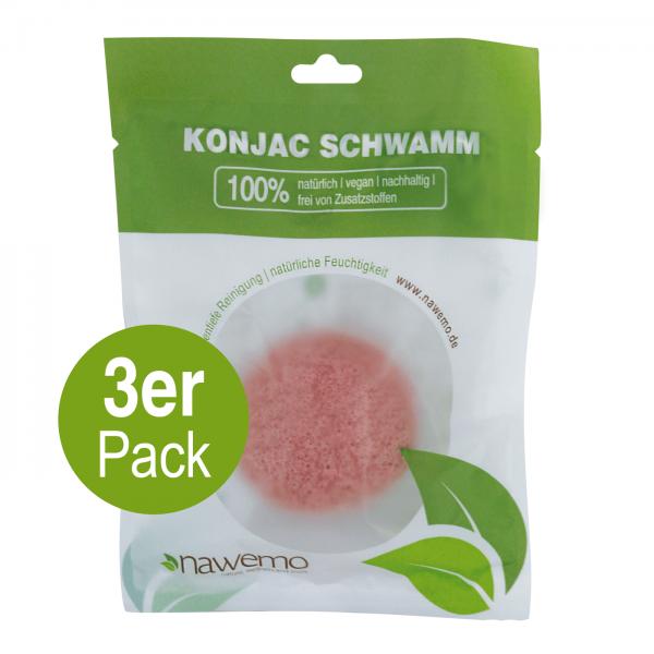Konjac Schwamm Rosa Tonerde - 3er Vorteilspack