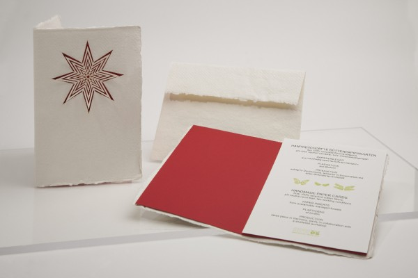 Büttenpapier Grußkarte - Stern, handgeschöpft