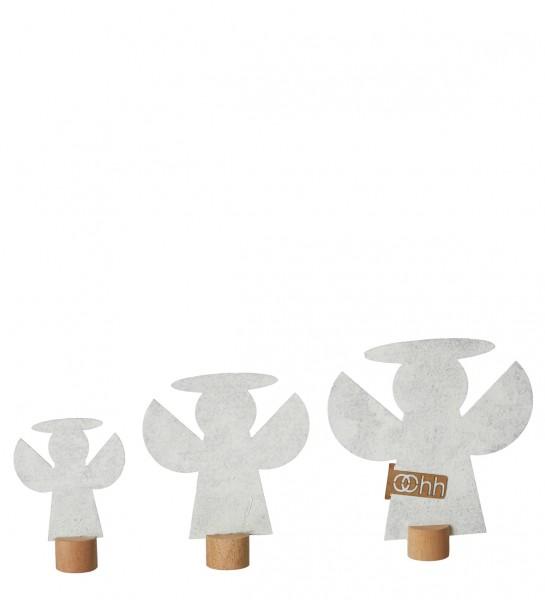 Deko-Engel aus Öko-Filz 3er-Set, weiß