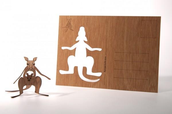 "Zedernholz Postkarte ""Känguruh"""
