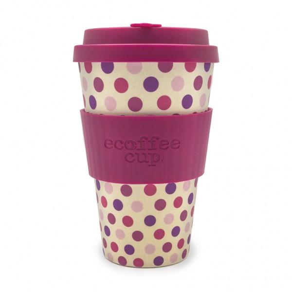 """Ecoffee Cup """"Pink Polka"""" 400ml, (14oz)"""