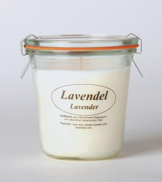 "Rapswachskerze im Weckglas ""Lavendel"""