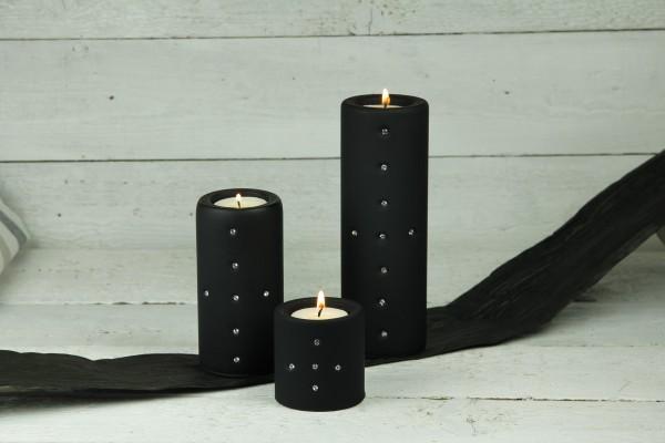 """Design-Teelichtglas """"Zylinder"""", schwarz"""