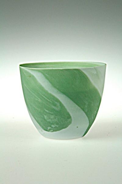 Windlicht Porzellan marmoriert, grün