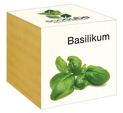 """Ecocube Pflanze im Holzwürfel """"Basilikum"""""""