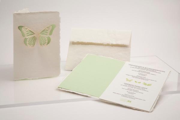 Büttenpapier Grußkarte - Schmetterling, handgeschöpft