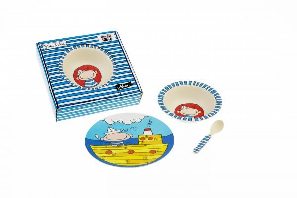 "Kinder-Set 3tlg. Natur-Design ""Ahoi Freddi"""