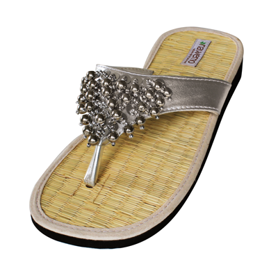 """Zimt-Slipper Nawemo """"Pearly silber"""""""