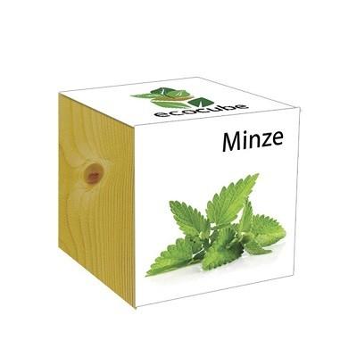 """Ecocube Pflanze im Holzwürfel """"Minze"""""""