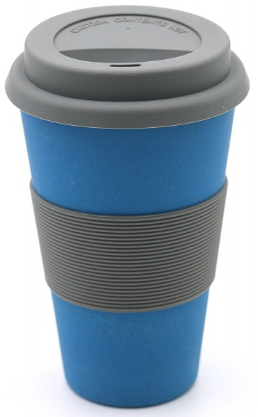 "Kaffeebecher Bambus ""To Go"", blau, 13 cm"