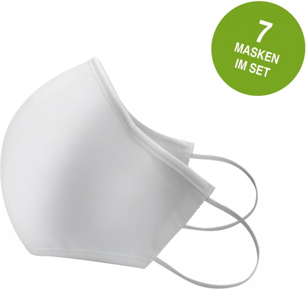 Mund & Nasen-Behelfsmasken, weiß, 7er Pack