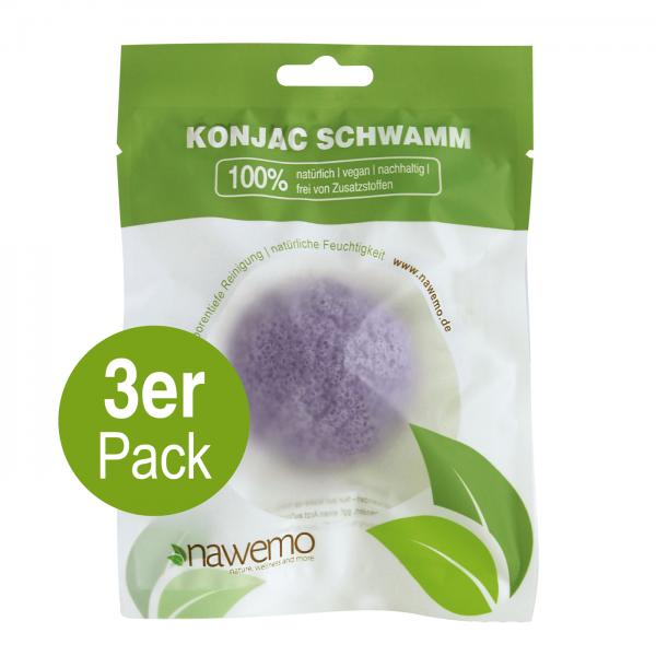 Konjac Schwamm Lavendel - 3er Vorteilspack