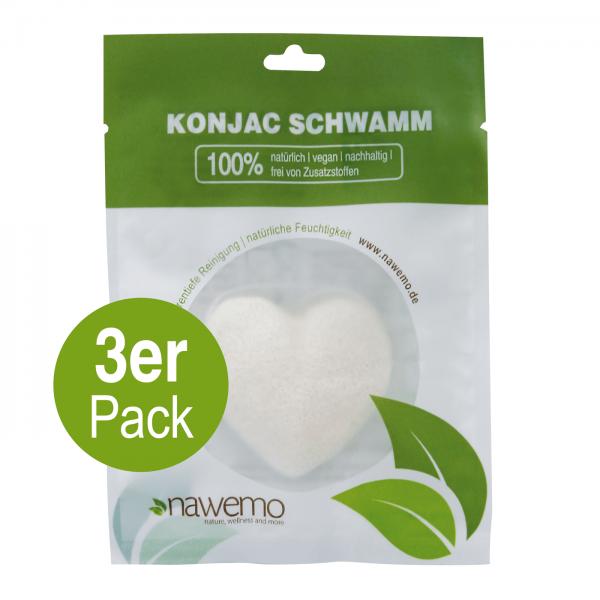 Konjac Schwamm Pur Herzform - 3er Vorteilspack