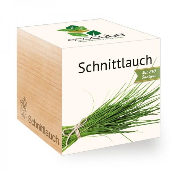 """Ecocube Pflanze im Holzwürfel """"Schnittlauch"""""""