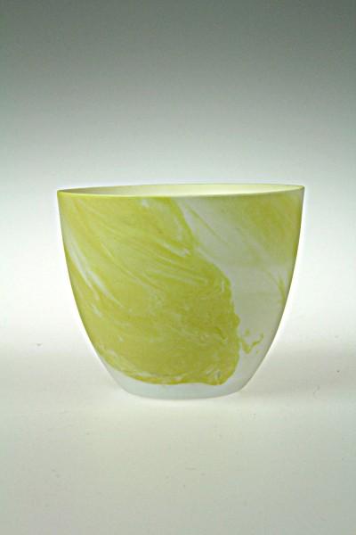 Windlicht Porzellan marmoriert, gelb