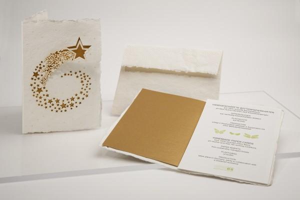 Büttenpapier Grußkarte - Sternschnuppe, handgeschöpft