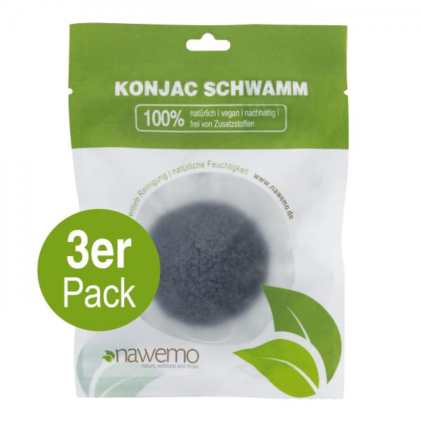 Konjac Schwamm Bambuskohle - 3er Vorteilspack