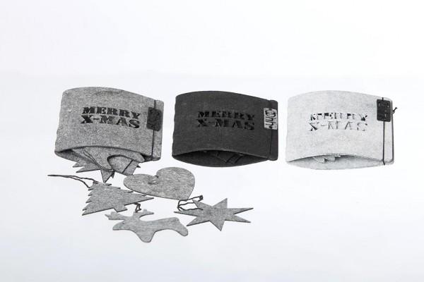 Weihnachtsbaumschmuck - 8er Set, grau aus Öko-Filz
